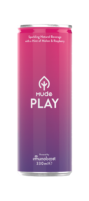 Front of Mude Play can, the can is pink and purple